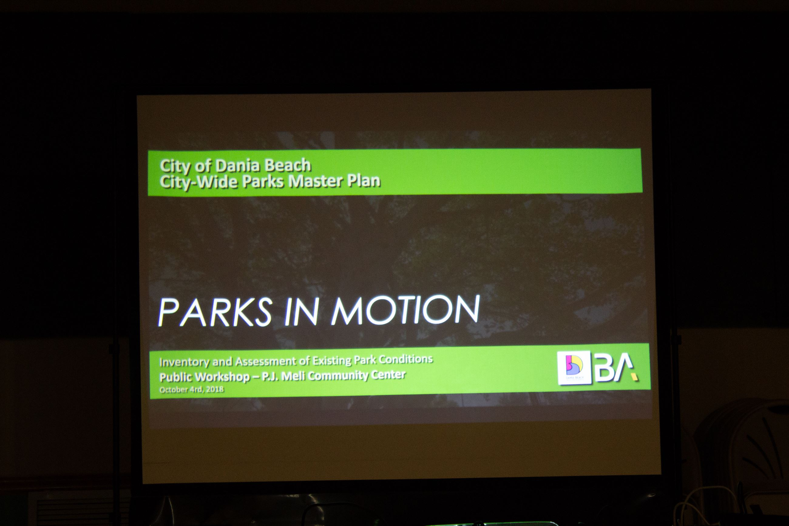 Dania Beach Parks Master Plan Workshop at PJ Meli Park - PARKS IN MOTION