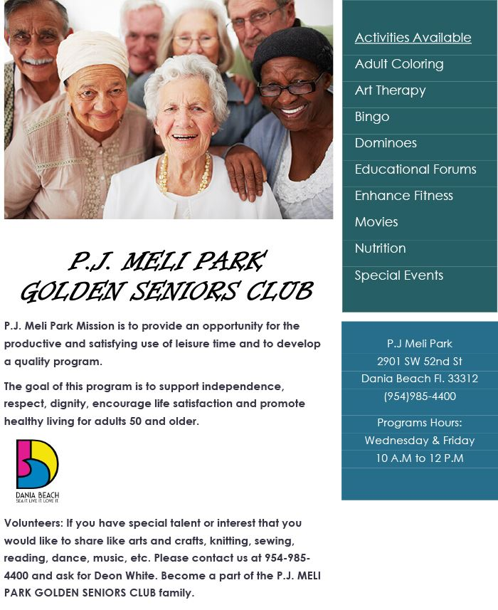 Golden Seniors Dania Beach PJ Meli Park