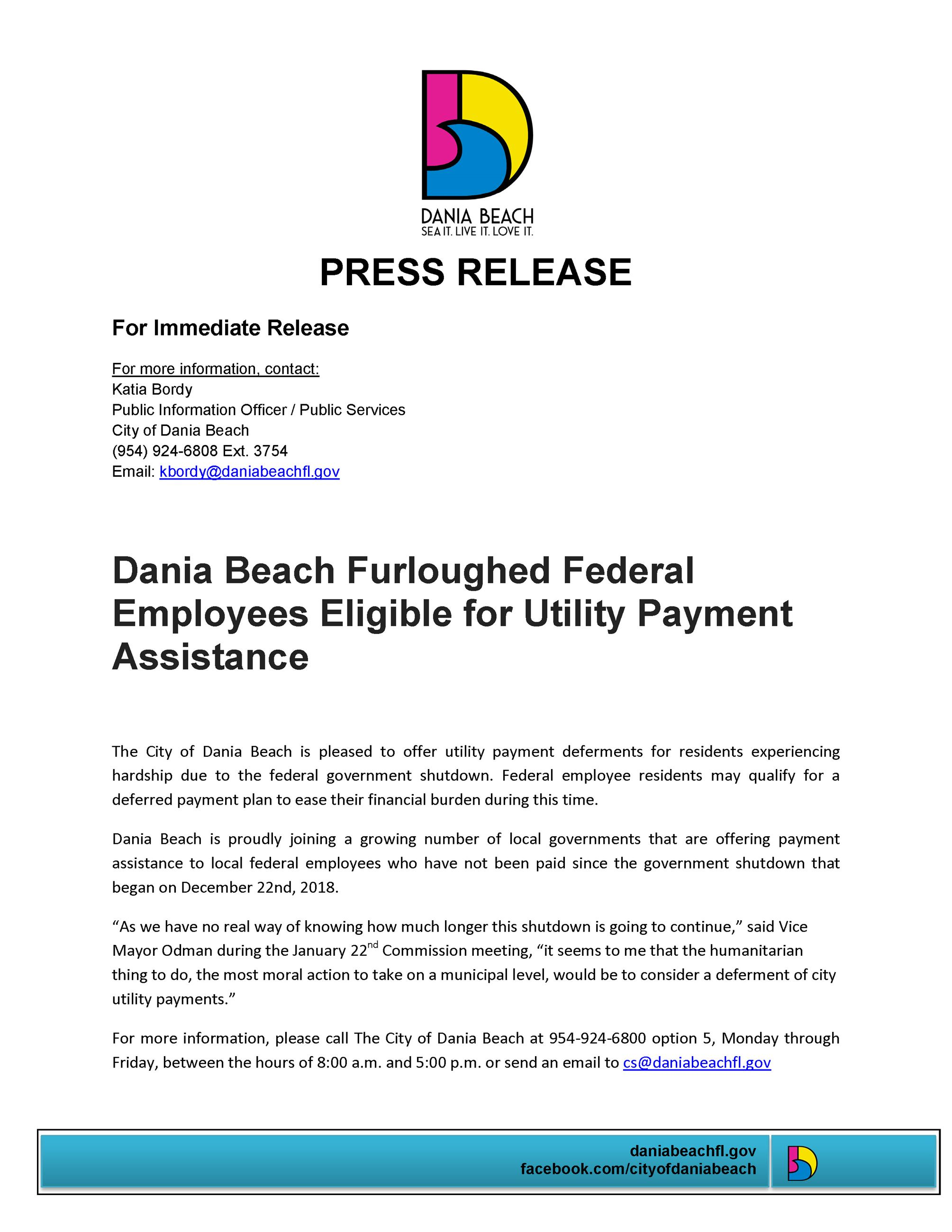 1.25.19 PR Deferred utility payments for furloughed Federal employees