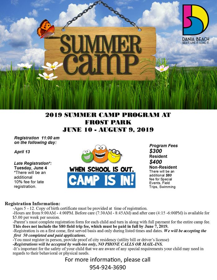 Summer-Camp-2019 Registration at Dania Beach