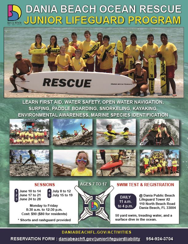 Dania Beach Ocean Rescue Junior Lifeguard Summer Camp 2019