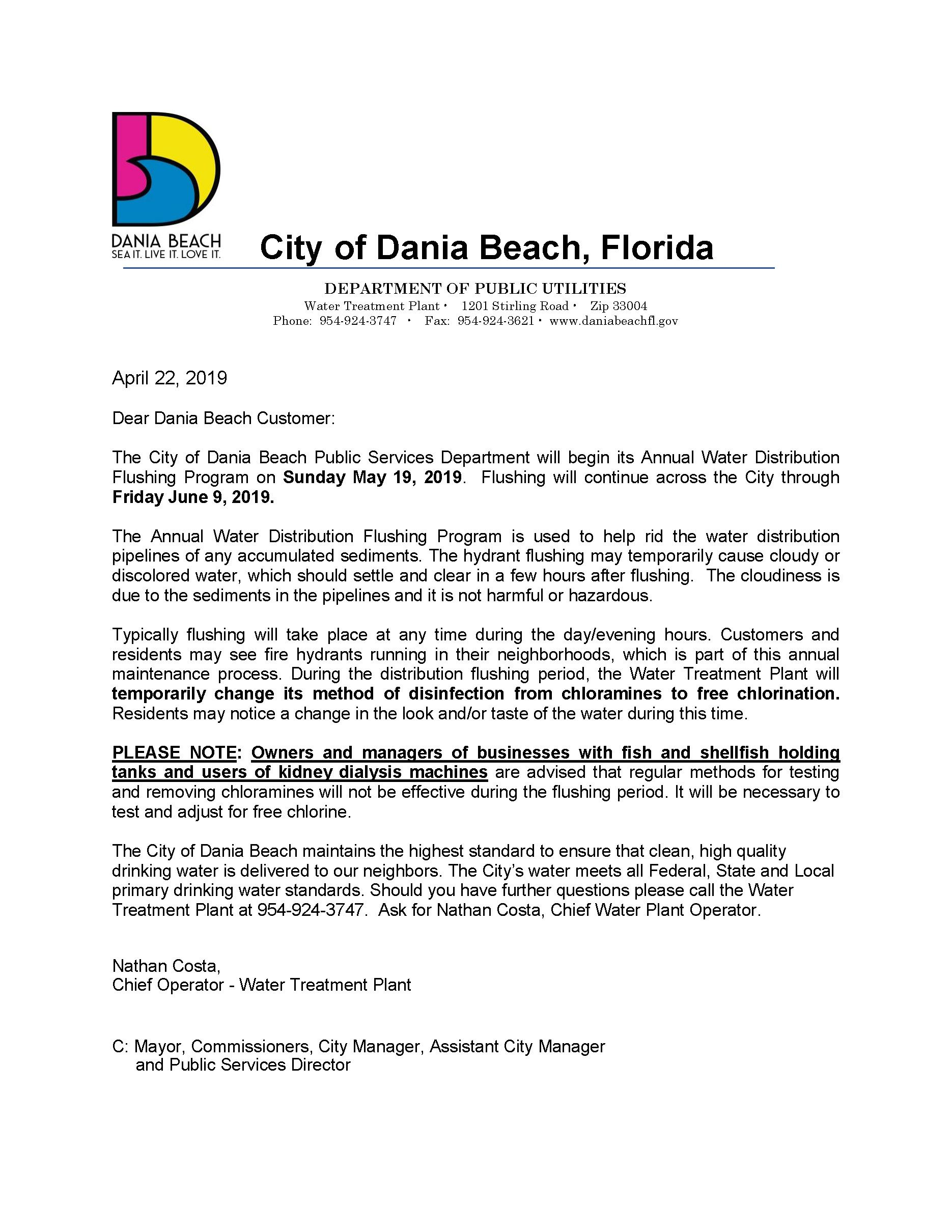 Dania Beach annual water flushing program notice 2019