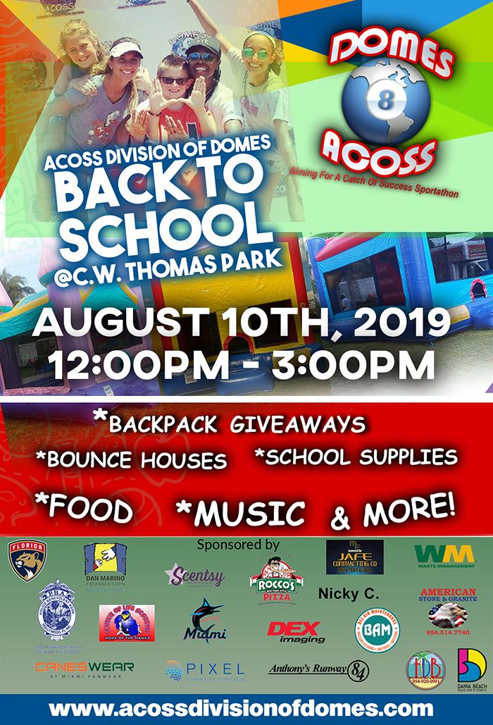 BACKPACK GIVEAWAY Dania Beach at CW Thomas park in August 2019