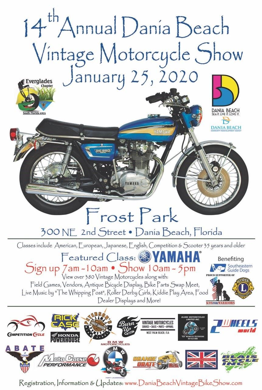 14th Annual Dania Beach Vintage Motorcycle Show at Frost Park in Dania Beach