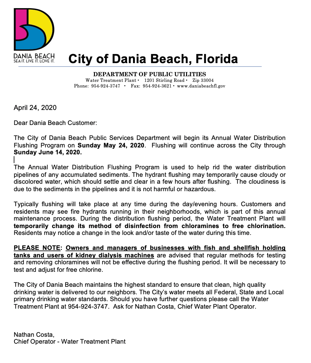 The City of Dania Beach Public Services Department will begin its Annual Water Distribution Flushing