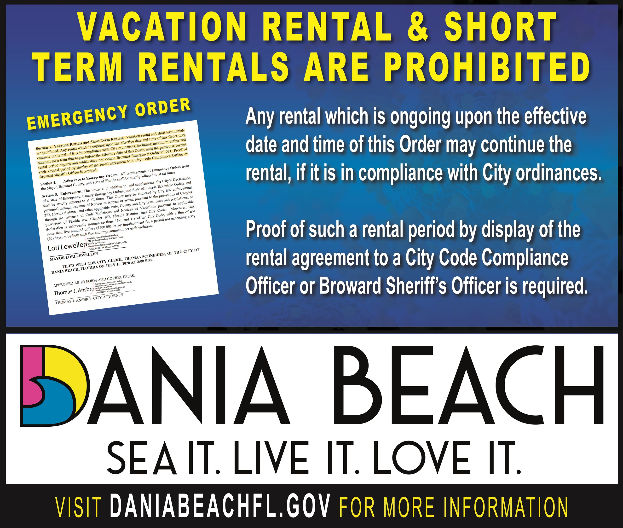 Emergency Order 23 Vacation Rental Prohibited Dania Beach