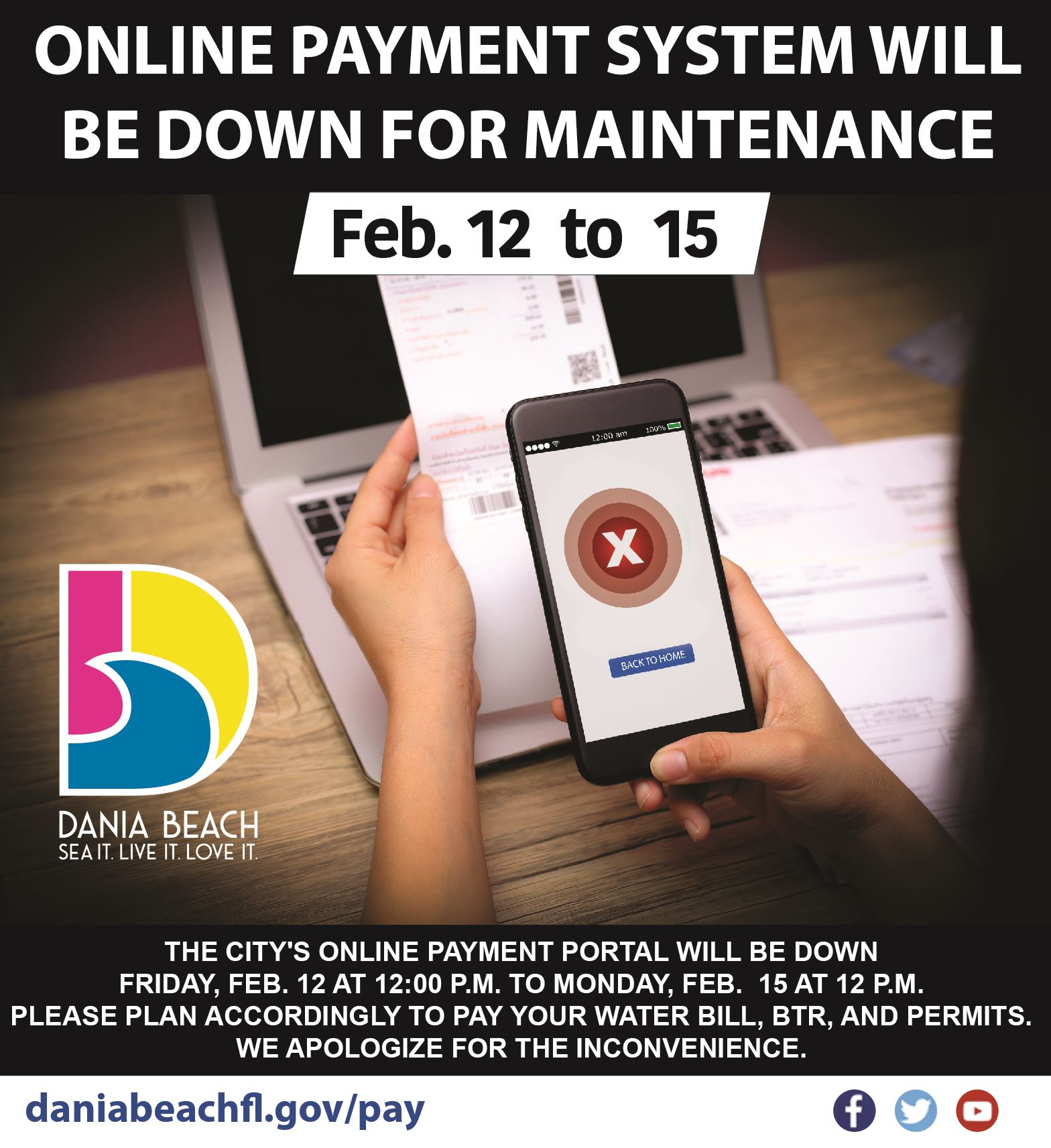 ONLINE PAYMENT DOWN FOR MAINTENANCE Dania Beach