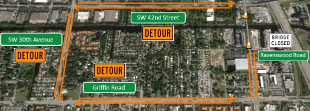 Ravenswood Road Bridge Replacement Detour Map