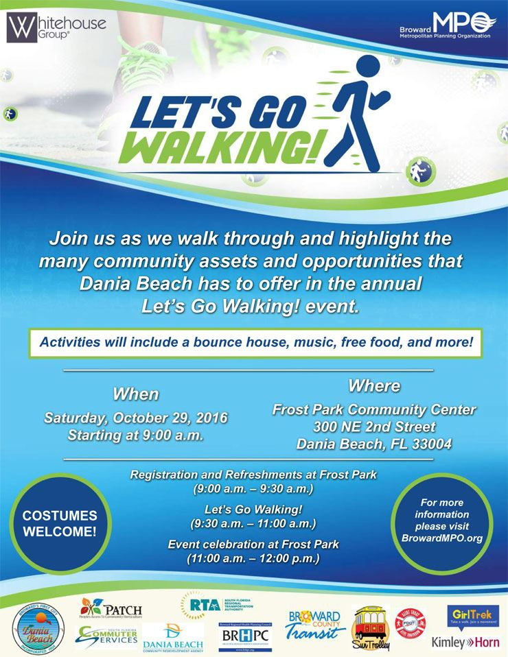 Let's Go Walking will be Saturday, October 29, 2016 at Frost Park Community Center from 9am to 12