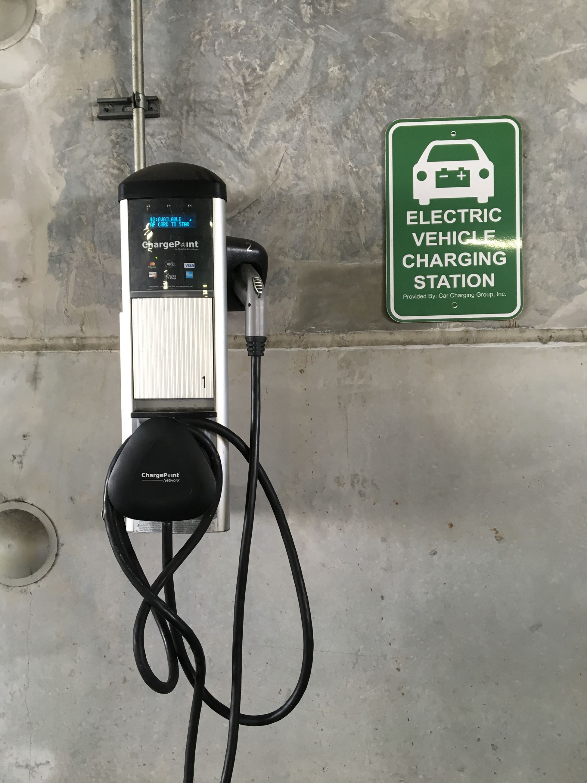 Electric Car Plugs at City Hall Parking Lot Dania Beach