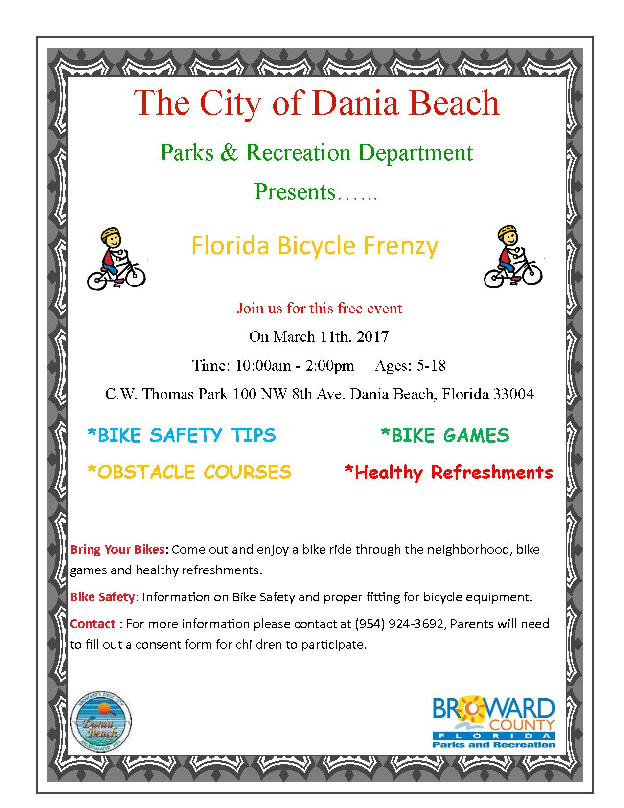 March 11 Bicycle Frenzy Dania Beach, Bring Your Bikes