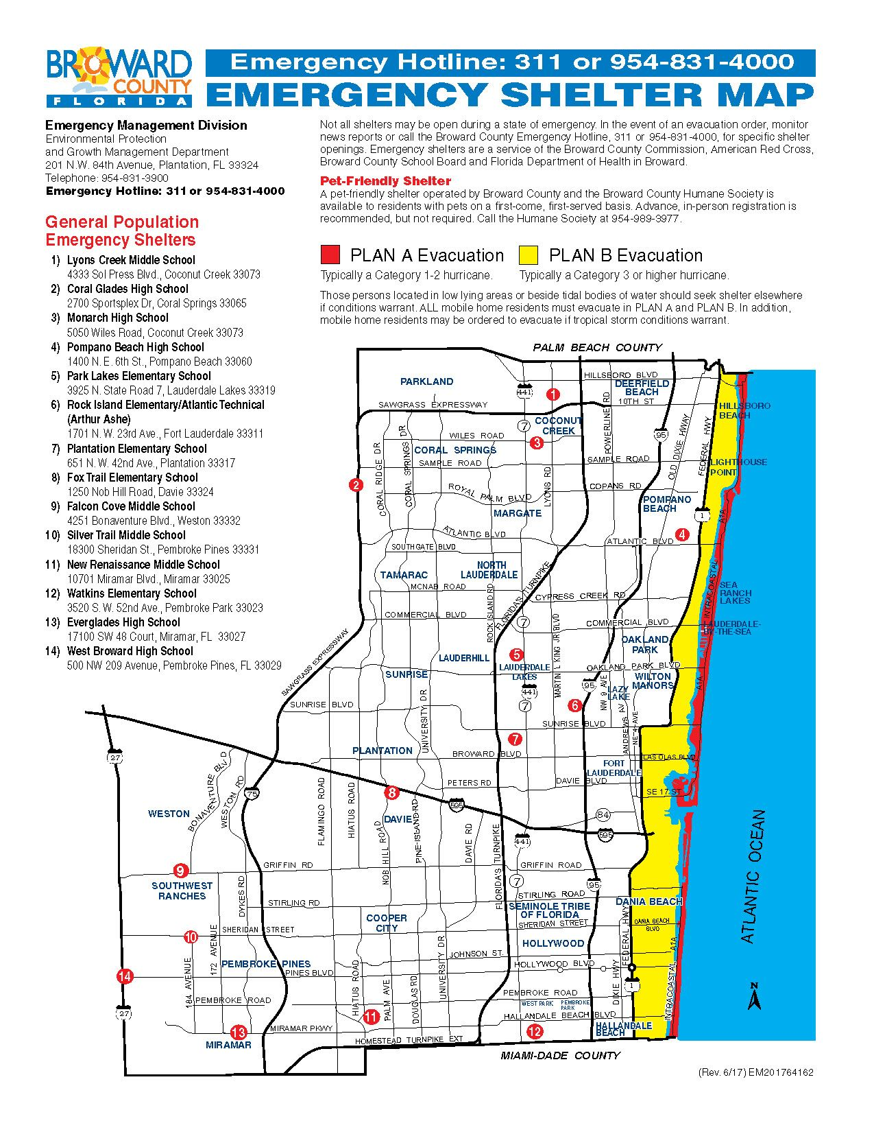 Broward County Emergency Shelter Map