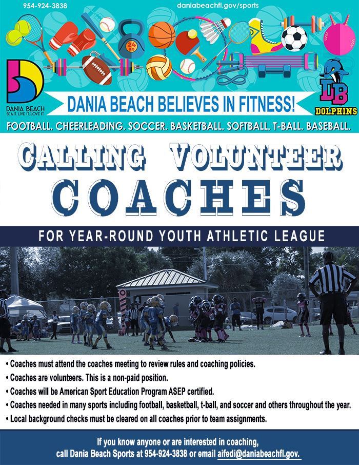 Calling Volunteer Coaches for year-round youth athletic league. Dania Beach