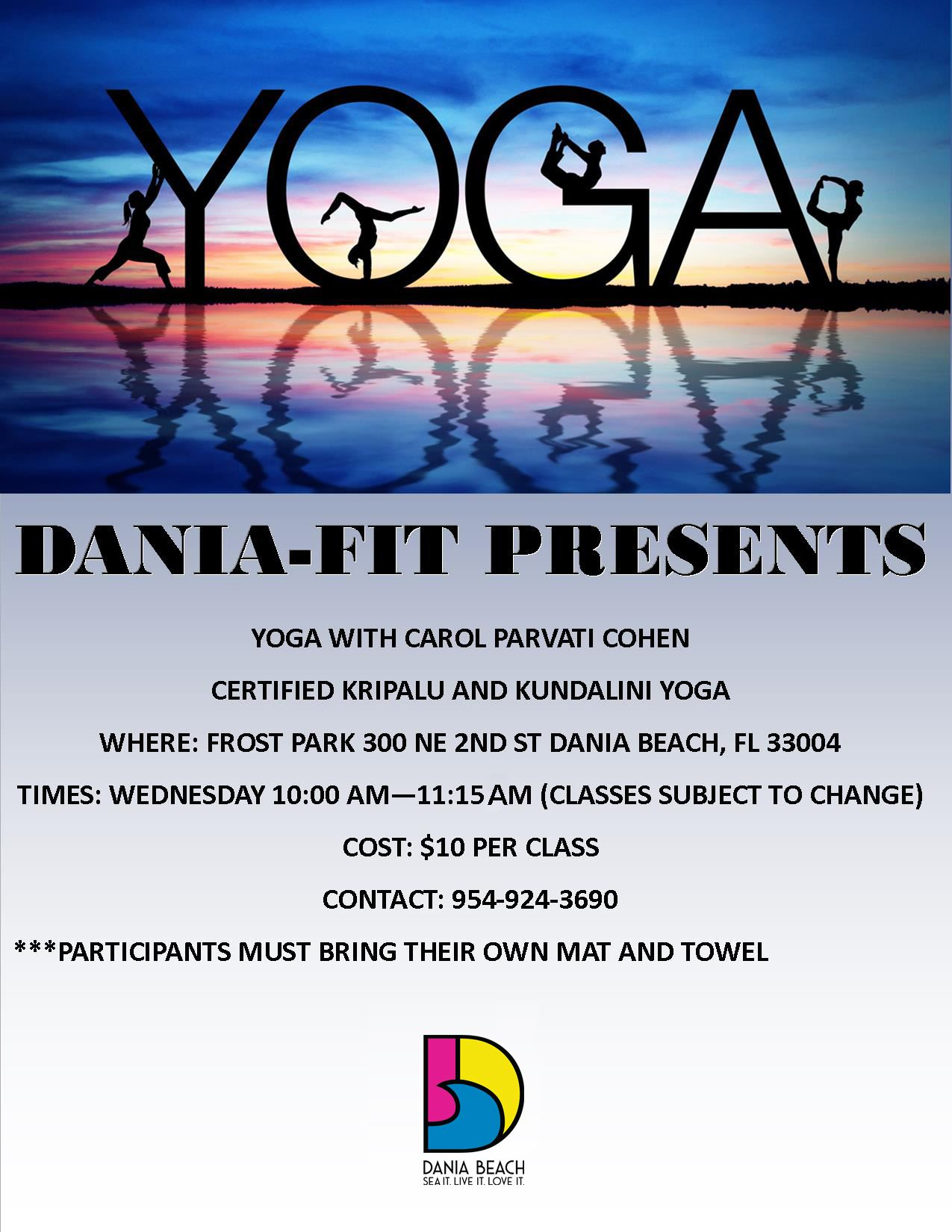 Yoga Class at Frost Park Dania Beach