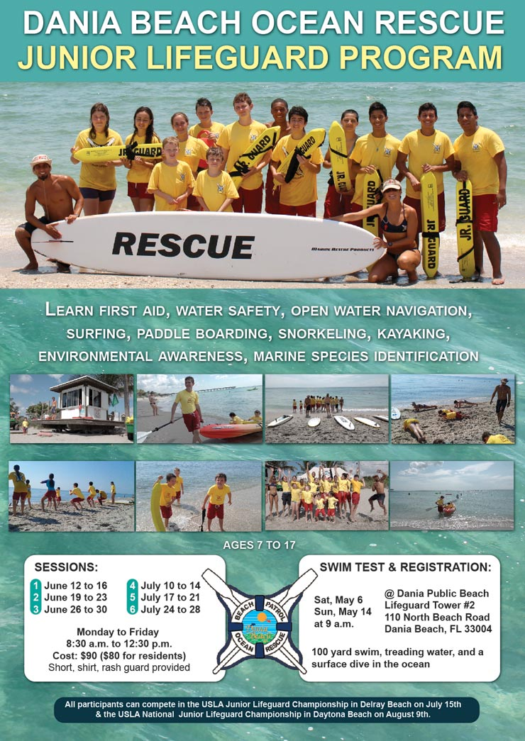 Dania Beach Ocean Rescue swim test and registration at Dania Public Beach starting at 9 am on May 6 and 14
