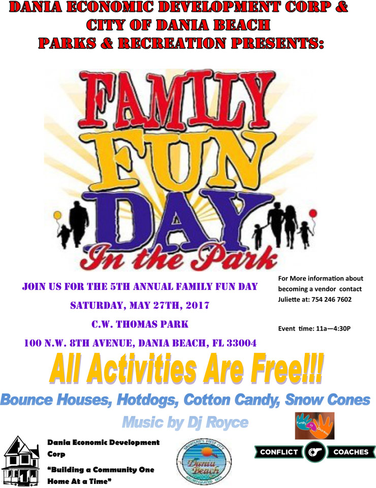 Family Fun Day In the Park on May 27th, 2017 at CW Thomas Park from 11AM to 4 30 PM