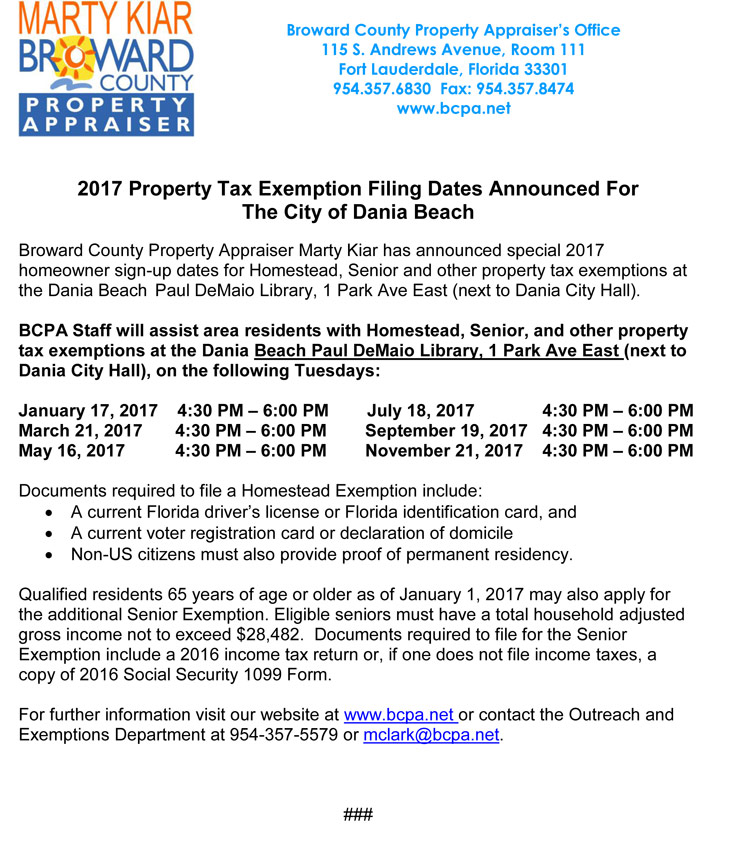 2017 Property Tax Exemption Filing