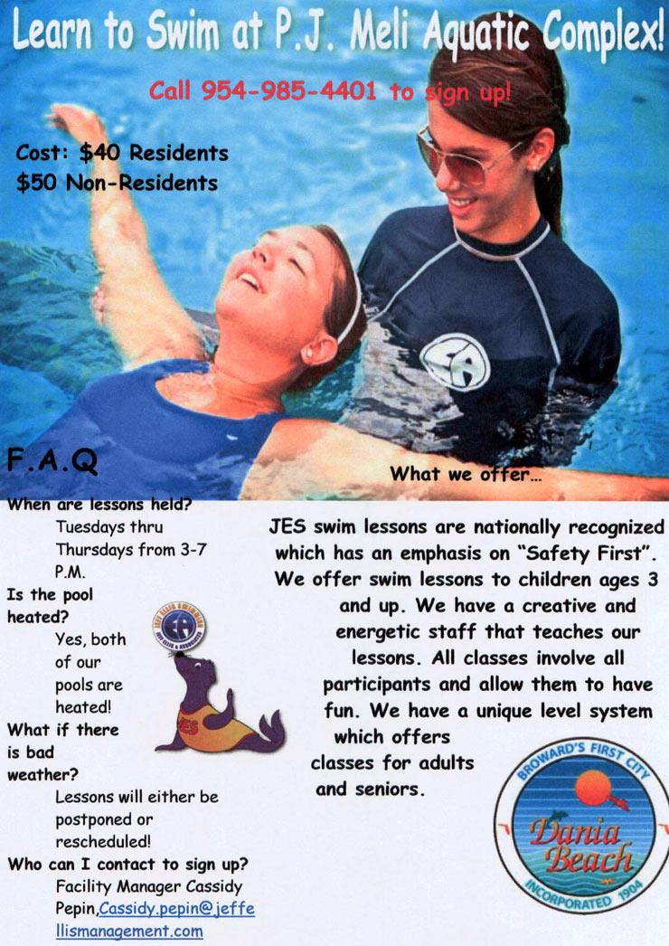 Swimming Lessons at Dania Beach PJ Meli Park Recreational Activities